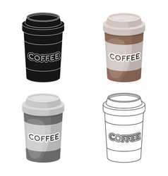 Disposable coffee cup icon in cartoon style vector