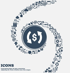 Exchange icon in the center Around the many vector image