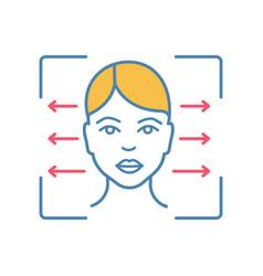 Facial recognition reader color icon vector