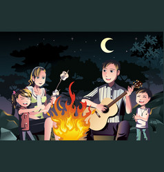 Family having a bonfire vector