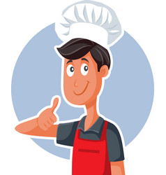 fast food chef with thumbs up doing ok sign vector image