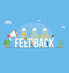 feedback big word customer rating with people vector image