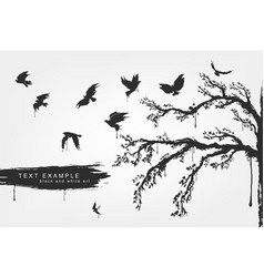 figures of flying birds trees in grunge style vector image