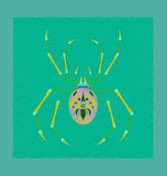 Flat shading style icon halloween spider vector