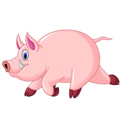 funny pig cartoon run vector image