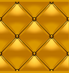Gold button-tufted rhombic leather background vector