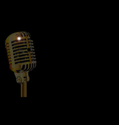 Gold microphone poster vector