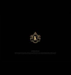 golden elegant luxury shield lion king crown vector image