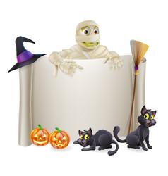Halloween mummy scroll sign vector
