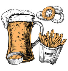 hand drawn glass beer and snacks vector image
