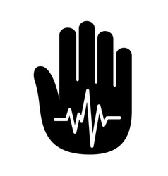 hand open palm heartbeat pulse logo vector image