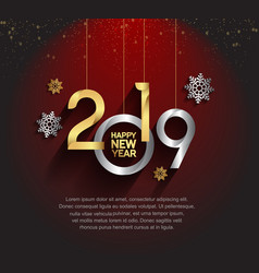 Happy new year 2019 golden and silver color vector