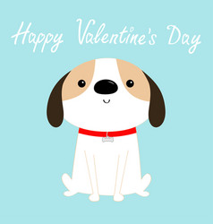 Happy valentines day dog sitting red collar vector