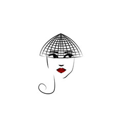 hat veil girl icon element beautiful girl in a vector image