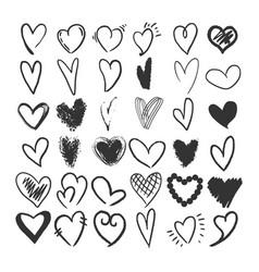 heart symbol set sketch engraving vector image