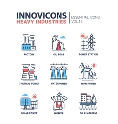 Heavy industry line design icons set vector image
