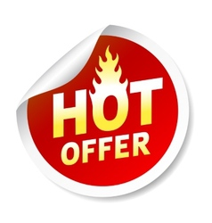 Hot ofer sticker badge with flame vector image