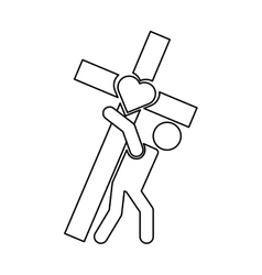 Human silhouette carrying the cross vector image