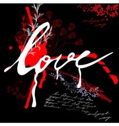 inscription love on grunge background vector image vector image