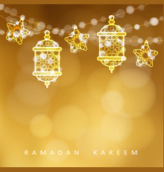 Islamic greeting card garlands with oriental vector