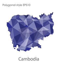 Isolated icon cambodia map polygonal geometric vector