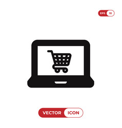 laptop icon with shopping cart sign vector image