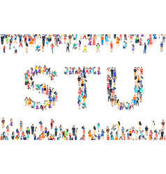 Large group people in letter s t u sign vector