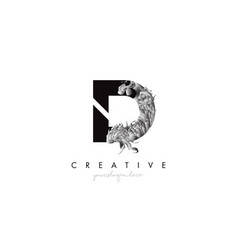 Letter d logo design icon with artistic grunge vector