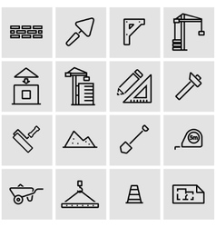 line construction icon set vector image vector image