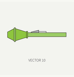 Line flat color military icon grenade vector