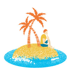 lonely man sitting on an island and looking to vector image