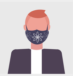 man wearing protective face mask with atom icon vector image