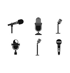 microphone icon set simple style vector image