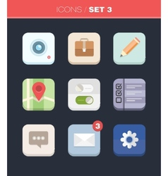 Modern flat icons collection in stylish colors vector