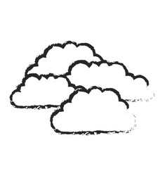 monochrome blurred silhouette with set of clouds vector image