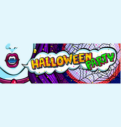 open mouth and halloween party message vector image