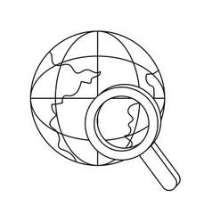 outline global digital data network server vector image