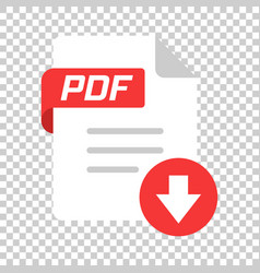 Pdf icon in transparent style document text on vector