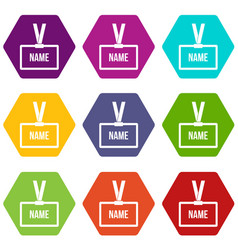 plastic name badge with neck strap icon set color vector image