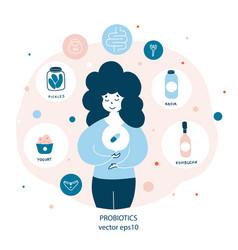 probiotics benefit for women health flat vector image
