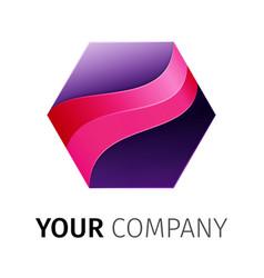 purple hexagon logo design ribbon vector image