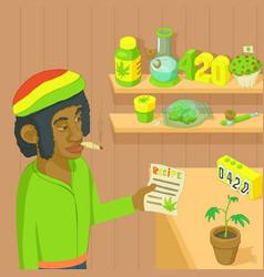 Rastafarian marijuana concept cartoon style vector