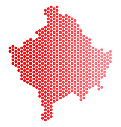 Red dotted kosovo map vector