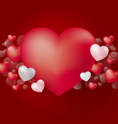 red heart background design for valentines day vector image