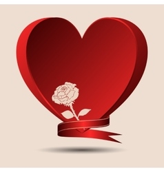 Red heart with a rose and a ribbon vector