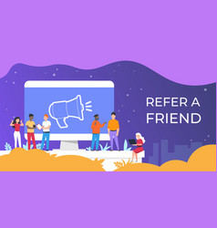 refer a friend people group working together on vector image