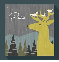 retro greeting card winter scene deer and birds vector image