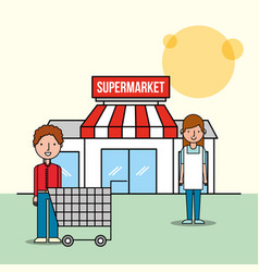saleswoman and customer man front supermarket with vector image