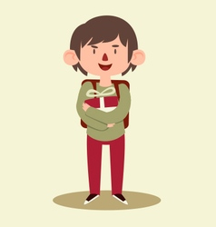 School Boy Holding a Gift vector