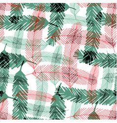 seamless pattern with green and red fir tree vector image
